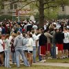 Participants wait for the start of the University of Oklahoma