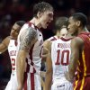 Oklahoma Sooner\'s Ryan Spangler reacts to play as the University of Oklahoma Sooners (OU) men defeat the Iowa State Cyclones (ISU) 87-82 in NCAA, college basketball at The Lloyd Noble Center on Saturday, Jan. 11, 2014 in Norman, Okla. Photo by Steve Sisney, The Oklahoman
