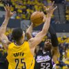 Photo -   Sacramento Kings' James Johnson works against Indiana Pacers' Gerald Green during an NBA basketball game in Indianapolis on Saturday, Nov. 3, 2012. (AP Photo/Doug McSchooler)