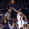 Oklahoma City\'s Kevin Durant (35) blocks Denver\'s J.R. Smith\'s 25-foot three pointer in the final seconds of the the NBA basketball game between the Denver Nuggets and the Oklahoma City Thunder in the first round of the NBA playoffs at the Oklahoma City Arena, Wednesday, April 27, 2011. Photo by Sarah Phipps, The Oklahoman