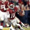 Jalen Saunders runs after a catch during the second half of the college football game where the University of Oklahoma Sooners (OU) were defeated by the Fighting Irish of Notre Dame (ND) 30-13 at Gaylord Family-Oklahoma Memorial Stadium in Norman, Okla., on Saturday, Oct. 27, 2012. Photo by Steve Sisney, The Oklahoman
