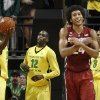 Stanford\'s Josh Huestis, second from right, celebrates an out-of-bounds call as Oregon\'s Elgin Cook, left, Jason Calliste and Joseph Young look on during the second half of an NCAA college basketball game in a Eugene, Ore, on Sunday, Jan 12, 2014. (AP Photo/Chris Pietsch)