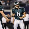 Philadelphia Eagles kicker Alex Henery (6) celebrates after making a field goal against the Dallas Cowboys during the second half of an NFL football game, Sunday, Dec. 2, 2012, in Arlington, Texas. (AP Photo/LM Otero)