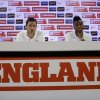 Photo - England national soccer team players Raheem Sterling, right, and Frank Lampard listen to a question from a journalist during a press conference after a squad training session that was closed to the media for the 2014 soccer World Cup at the Urca military base in Rio de Janeiro, Brazil, Tuesday, June 17, 2014.  (AP Photo/Matt Dunham)