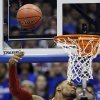 Oklahoma forward Romero Osby (24) misses a dunk during the first half of an NCAA college basketball game against Kansas in Lawrence, Kan., Saturday, Jan. 26, 2013. (AP Photo/Orlin Wagner) ORG XMIT: KSOW102