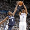Oklahoma City\'s Russell Westbrook (0) shoots over Tony Allen (9) of Memphis during game five of the Western Conference semifinals between the Memphis Grizzlies and the Oklahoma City Thunder in the NBA basketball playoffs at Oklahoma City Arena in Oklahoma City, Wednesday, May 11, 2011. Photo by Bryan Terry, The Oklahoman