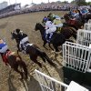 In a photo taken with a fish eye lens, horses leave the starting gate in the 138th Kentucky Derby horse race at Churchill Downs Saturday, May 5, 2012, in Louisville, Ky. (AP Photo/Matt Slocum) ORG XMIT: DBY210
