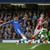 Photo - Chelsea's Fernando Torres, center, has his shot on goal saved by Stoke City's Asmir Begovic, right, during their English Premier League soccer match between Chelsea and Stoke City at Stamford Bridge stadium in London, Saturday, April, 5, 2014. (AP Photo/Alastair Grant)