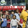 Students from Good Shepherd Lutheran School pose on the front of a fire truck for a group photo during their visit to the city hall complex Wednesday afternoon, Oct. 8, 2008. Midwest City firefighters are conducting fire safety training for elementary school students as part of the department\'s Fire Prevention Month activities. BY JIM BECKEL, THE OKLAHOMAN