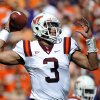 Photo -   Virginia Tech quarterback Logan Thomas throws against Clemson during the first half of an NCAA football game on Saturday, Oct. 20, 2012, in Clemson, S.C. (AP Photo/Rainier Ehrhardt)