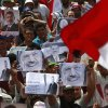 Supporters of ousted President Mohammed Morsi protest in Nasr City, Cairo, Egypt, Tuesday, July 9, 2013. Egypt\'s army chief says the military will not accept political