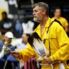 Photo -  Dr. Steven Brandt takes part in a gourd dance at the University of Central Oklahoma powwow. Photo by K.T. King, The Oklahoman   KT King -