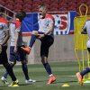 Photo - United States' Aron Johannsson, center, of the Netherlands, stretches during practice in preparation for the World Cup soccer tournament on Thursday, May 22, 2014, in Stanford, Calif. (AP Photo/Ben Margot)