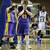 Red Oak\'s Tyler Parks (3), left, and Dylan Fazekas (45) react in front of Coyle\'s Eric Harris (13) at the end of a Class B Boys semifinal game of the state high school basketball tournament between Coyle and Red Oak at Jim Norick Arena, The Big House, on State Fair Park in Oklahoma City, Friday, March 1, 2013. Coyle won, 69-62. Photo by Nate Billings, The Oklahoman