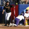 Arizona\'s Sam Parlich (20) tags LSU\'s Juliana Santos (2) during a Women\'s College World Series game between Arizona State and LSU at ASA Hall of Fame Stadium in Oklahoma City, Saturday, June 2, 2012. Photo by Garett Fisbeck, The Oklahoman