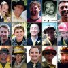 This photo combination made with undated family photos provided via the City of Prescott, Ariz. shows the 19 firefighters killed battling an out-of-control wildfire in Yarnell, Ariz., on June 30, 2013. Top row, from left: Andrew Sterling Ashcraft, Robert Caldwell, Travis Carter, Dustin James DeFord, Chris Mackenzie, Eric Shane Marsh, and Grant Quinn McKee. Second row, from left: Sean Misner, Scott Daniel Norris, Wade Scott Parker, John Joseph Percin Jr., Anthony Michael Rose, Jesse James Steed, and Joe Thurston. Bottom row, from left: Travis Turbyfill, William Howard