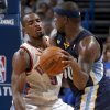 Oklahoma City\'s Serge Ibaka (9) defends Memphis\' Zach Randolph (50) during Game 2 in the second round of the NBA playoffs between the Oklahoma City Thunder and the Memphis Grizzlies at Chesapeake Energy Arena in Oklahoma City, Tuesday, May 7, 2013. Photo by Bryan Terry, The Oklahoman