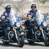 Photo - Edmond Police Department officers and motorcycle safety teachers Curtis Thompson, left, and Jeff Meadows ride as thier department displays their new state-of-the-art mobile classroom for statewide civilian motorcycle classes.   PHOTO BY STEVE SISNEY, OKLAHOMAN ARCHIVE