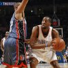 Oklahoma City\'s D.J. White (3) tries to get past Charlotte\'s Boris Diaw (32) in the first half during the NBA basketball game between the Charlotte Bobcats and the Oklahoma City Thunder at the Ford Center in Oklahoma City, Friday, April 10, 2009. Photo by Nate Billings, The Oklahoman ORG XMIT: KOD