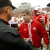 OSU head coach Mike gundy, left, shakes hands with Nebraska head coach Bill Callahan after the college football game between Oklahoma State University (OSU) and the University of Nebraska (NU) at Memorial Stadium in Lincoln, Neb., Saturday, October 13, 2007. OSU won, 45-14. By Nate Billings, The Oklahoman