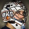 HOCKEY HELMETS: Barons\' David LeNeveu wears his goalie mask at the Cox Convention Center on Feb. 21, 2012 in Oklahoma City, Oklahoma. Photo by Chris Landsberger