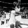 MARCH 21, 1985. OU COLLEGE BASKETBALL: University of Oklahoma\'s Wayman Tisdale, right, celebrates his game-winning shot against Louisiana Tech in Dallas during the NCAA tournament. (PHOTO BY DOUG HOKE/THE OKLAHOMAN)