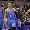 Oklahoma City Thunder\'s Kevin Durant (35), Russell Westbrook (0), Kendrick Perkins (5), Thabo Sefolosha (2) and Serge Ibaka (9) react against the San Antonio Spurs during the second half of Game 2 in their NBA basketball Western Conference finals playoff series, Tuesday, May 29, 2012, in San Antonio. (AP Photo/Eric Gay) ORG XMIT: TXKJ129