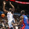 Oklahoma City\'s James Harden (13) loses the ball after being fouled near Ben Wallace (6) of Detroit during the NBA basketball game between the Detroit Pistons and Oklahoma City Thunder at the Chesapeake Energy Arena in Oklahoma City, Monday, Jan. 23, 2012. Photo by Nate Billings, The Oklahoman
