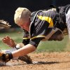 Tecumseh catcher Micah Sanchez tags Anadarko\'s Conner Bost as he slides into home plate in the second inning during action in the Class 4A state high school baseball tournament at Shawnee High School\'s Memorial Park. on Thursday, May 10, 2012. Anadarko defeated Tecumseh, 4-3. Photo by Jim Beckel, The Oklahoman