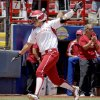 Oklahoma\'s Lauren Chamberlain celebrates as she heads towards home after hitting a home run against South Florida in the fourth inning of a Women\'s College World Series game at ASA Hall of Fame Stadium in Oklahoma City, Thursday, May 31, 2012. Photo by Bryan Terry, The Oklahoman