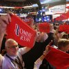 Pennsylvania delegate Bob Thomas from Chambersburg, left, holds up a towel during the Republican National Convention in Tampa, Fla., on Thursday, Aug. 30, 2012. (AP Photo/Patrick Semansky) ORG XMIT: RNC743