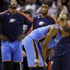 Oklahoma City Thunder\'s Serge Ibaka, foreground, and teammates react after losing in the last second of an NBA basketball game against the San Antonio Spurs, Thursday, Nov. 1, 2012, in San Antonio. San Antonio won 86-84. (AP Photo/Eric Gay) ORG XMIT: TXEG116