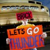 Thunder super fan Derrick Seys poses for a portrait outside the Ford Center in Oklahoma City, Thursday, Feb. 12, 2009. By Bryan Terry