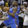 Oklahoma City\'s Kevin Durant (35) got past Memphis\' Tony Allen (9) during Game 6 in the first round of the NBA playoffs between the Oklahoma City Thunder and the Memphis Grizzlies at FedExForum in Memphis, Tenn., Thursday, May 1, 2014. Oklahoma City won 104-84. Photo by Bryan Terry, The Oklahoman