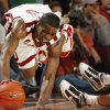 Willie Warren saves the ball from going out of bounds on defense in the final minute during the second half of the men\'s college basketball game where the University of Oklahoma Sooners (OU) defeated the Missouri Tigers (MU) 66-61 at the Lloyd Noble Center on Saturday, Jan. 16, 2009, in Norman, Okla. Photo by Steve Sisney, The Oklahoman