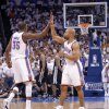 Oklahoma City\'s Kevin Durant (35) and Oklahoma City\'s Derek Fisher (37) react during Game 6 of the Western Conference Finals between the Oklahoma City Thunder and the San Antonio Spurs in the NBA playoffs at the Chesapeake Energy Arena in Oklahoma City, Wednesday, June 6, 2012. Photo by Chris Landsberger, The Oklahoman