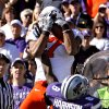 Oklahoma State\'s Michael Harrison (7) makes a touchdown catch over Kansas State\'s Stephen Harrison (8) during the first half of the college football game between the Oklahoma State University Cowboys (OSU) and the Kansas State University Wildcats (KSU) on Saturday, Oct. 30, 2010, in Manhattan, Kan. Photo by Chris Landsberger, The Oklahoman