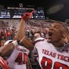 Texas Tech\'s Marcus Kennard (88) celebrates the 41-38 win over Oklahoma during the college football game between the University of Oklahoma Sooners (OU) and Texas Tech University Red Raiders (TTU) at the Gaylord Family-Oklahoma Memorial Stadium on Sunday, Oct. 23, 2011. in Norman, Okla. Photo by Chris Landsberger, The Oklahoman