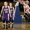 Hillary Konsure of Crowder celbrates beside Okarche\'s Macy Kunneman, left, and Katie Beebe after Crowder\'s win in the Class A girls basketball state tournament semifinal game at the State Fair Arena in Oklahoma City, Friday, March 6, 2009. PHOTO BY BRYAN TERRY, THE OKLAHOMAN
