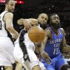 Oklahoma City\'s James Harden (13) goes for the ball beside San Antonio\'s Tony Parker (9) as Manu Ginobili (20) watches during Game 1 of the Western Conference Finals between the Oklahoma City Thunder and the San Antonio Spurs in the NBA playoffs at the AT&T Center in San Antonio, Texas, Sunday, May 27, 2012. Photo by Bryan Terry, The Oklahoman