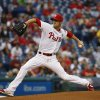 Photo - Philadelphia Phillies' Cole Hamels pitches during the first inning of a baseball game against the San Diego Padres, Wednesday, June 11, 2014, in Philadelphia. (AP Photo/Matt Slocum)