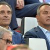 Photo - Cesare Prandelli, left, coach of the Italian national soccer team, sits beside 1982 World champion Antonio Cabrini, during the Europa League soccer final between Sevilla and Benfica, at the Turin Juventus stadium in Turin, Italy, Wednesday, May 14, 2014. (AP Photo/Massimo Pinca)