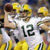 Green Bay Packers quarterback Aaron Rodgers passes during the first half of an NFL football game against the Indianapolis Colts in Indianapolis, Sunday, Oct. 7, 2012. (AP Photo/Michael Conroy)