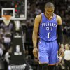 Oklahoma City\'s Russell Westbrook (0) walks towards the bench during Game 2 of the Western Conference Finals between the Oklahoma City Thunder and the San Antonio Spurs in the NBA playoffs at the AT&T Center in San Antonio, Texas, Tuesday, May 29, 2012. Oklahoma City lost 120-111. Photo by Bryan Terry, The Oklahoman