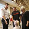 University of Oklahoma quarterback Blake Bell, introduces his 3-year-old relative Gentry Smith to OU head coach Bob Stoops during the Sooner Caravan stop at the Hyatt Wichita. Smith was wearing a sparkling homemade Bell jersey. Bell\'s mother Cherry Bell is at far right. (June 19, 2013) Photo by Jaime Green, The Wichita Eagle ORG XMIT: B73183861Z.1