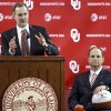 University of Oklahoma athletic director Joe Castiglione looks on as new men\'s basketball coach Lon Kruger speaks while being introduced as the new University of Oklahoma men\'s basketball coach on Monday, April 4, 2011, in Norman, Okla. Photo by Chris Landsberger, The Oklahoman