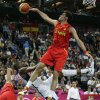 United States\' Kevin Durant is fouled as he goes up for a shot against Spain\'s Rudy Fernandez during the men\'s gold medal basketball game at the 2012 Summer Olympics, Sunday, Aug. 12, 2012, in London. (AP Photo/Charles Krupa)