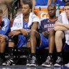 Oklahoma City\'s Eric Maynor, left, Daequan Cook, Nazr Mohammed, and Nick Collison sit on the bench during game 1 of the Western Conference Finals in the NBA basketball playoffs between the Dallas Mavericks and the Oklahoma City Thunder at American Airlines Center in Dallas, Tuesday, May 17, 2011. Photo by Bryan Terry, The Oklahoman
