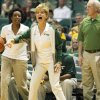 Baylor head coach Kim Mulkey reacts during the first half against Stanford in an NCAA college basketball game, Friday, Nov. 16, 2012, in Honolulu. (AP Photo/Marco Garcia)