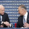 In this photo released by CBS News Sen. John McCain, R-Ariz., and Sen. Chuck Schumer, D-N.Y., appear on Sunday, April 7, 2013, on\'s CBS\'s